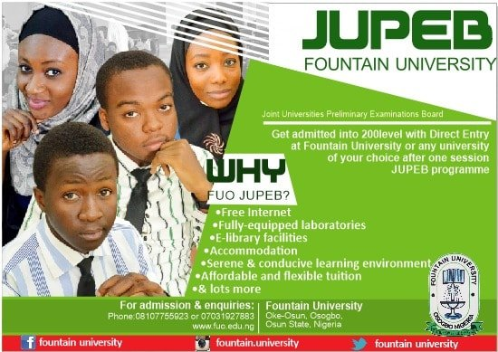 FUO JUPEB Admission Form